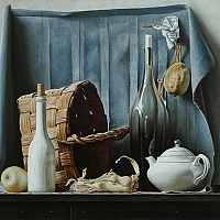 Still life with a basket (50x75 cm) 2016