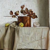 Still life with dry leaves (70x70cm) 2013